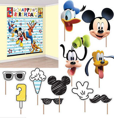 Mickey Scene Setter (MICKEY MOUSE Scene Setter HAPPY BIRTHDAY party wall decor w/12 photo booth)
