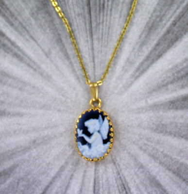 ANGEL AGATE CAMEO 14kt ROLLED GOLD  PENDANT NECKLACE JEWELRY