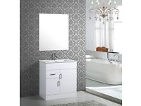 WHITE WASHBASIN CABINET SELL WITH MIRROR, STORE CLEARANCE, BRAND NEW IN ORIGINAL PACKAGE
