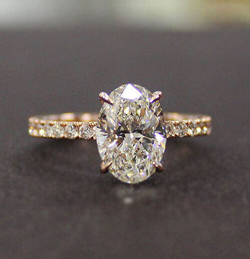 18k Rose Gold 1.50 Ct Oval Brilliant Cut Diamond Engagement Ring F,VS2 GIA  2