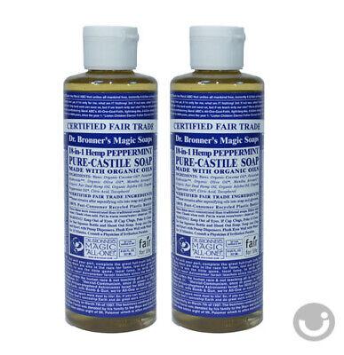 *2 LOT* DR. BRONNER'S MAGIC PEPPERMINT PURE CASTILE ORGANIC OIL SOAP 8OZ (Oil Castile Soap)