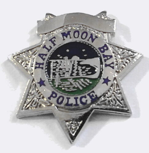 Half Moon Bay, CA Police Pin Silver Star Mini Badge Hat Lapel Tie Tack Pins(@!@)