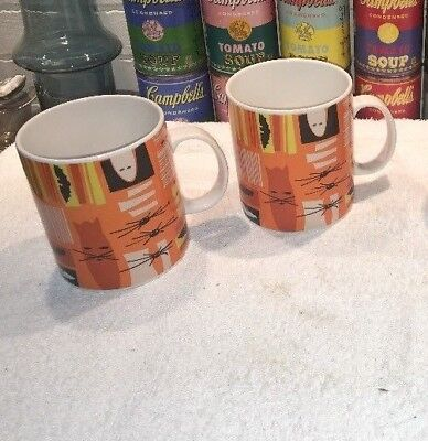 2 Crate & Barrel Abstract Retro Modern Halloween Mugs Cats Bats Spiders Ghosts  - Crate And Barrel Halloween Mugs
