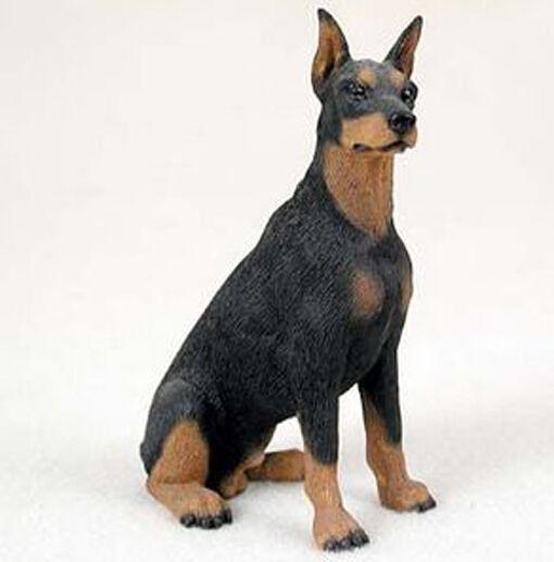 DOBERMAN PINSCHER (BLACK) DOG Figurine Statue Hand Painted Resin Gift Pet Lovers