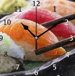 Sushi Wall Clock With Chopsticks Square 20cm Fashionable Decoration JAPAN NEW