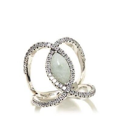 Jade of Yesteryear Marquise Green jade & CZ Sterling Negative Space Ring Sz 7