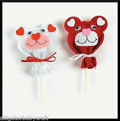 (Teddy Bear Felt Lollipop Sucker Cover Craft Kit 4 Kids ABCraft Valentines Day )
