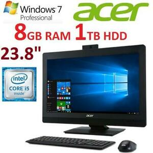 NEW ACER VERITON Z AIO COMPUTEr VZ4820G-CQI52 238401379 23.8 I5-6500 8GB RAM 1TB HDD WIN7 PRO TOUCH SCREEN