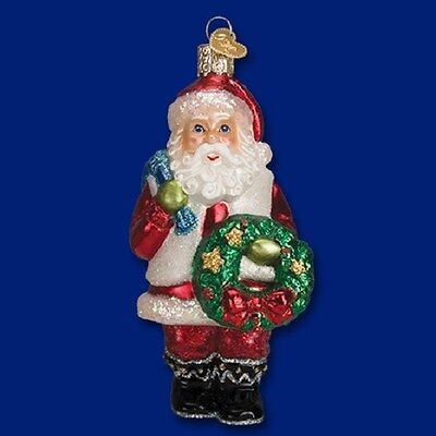 """Santa with Wreath"" (40279) Old World Christmas Glass Ornament"
