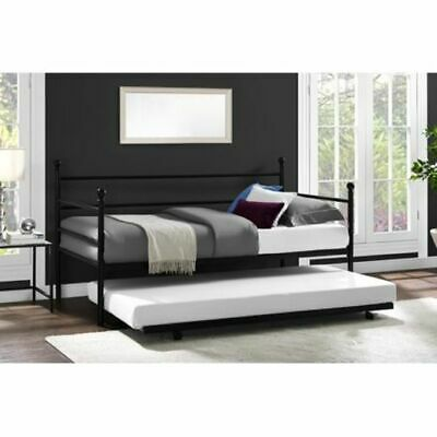 Black Daybed Trundle - Modern Black Metal Daybed With Trundle Twin Size Day Bed Frame Bedroom Furniture