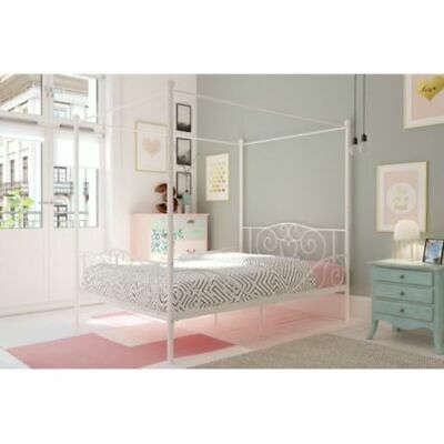- DHP White Metal Four Poster Canopy Bed Frame Teens Bedroom Furniture NEW