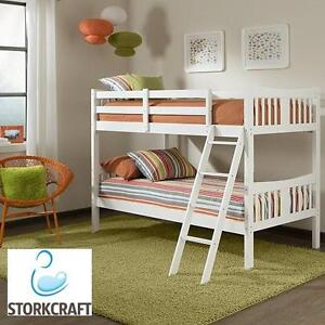 NEW STORK CRAFT CARIBOU BUNK BED - 114254066 - WHITE FINISH WOOD FRAME BEDS BEDDING FRAMES BUNKS BEDROOM FURNITURE ROOM