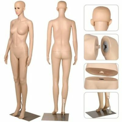 Realistic Adjustable Female Full Body Plastic Mannequin Dress Form W Metal Bas