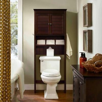 Etagere Bathroom Cabinets (Traditional Solid Brown Wood Etagere Bathroom Storage Furniture Cabinet NEW )