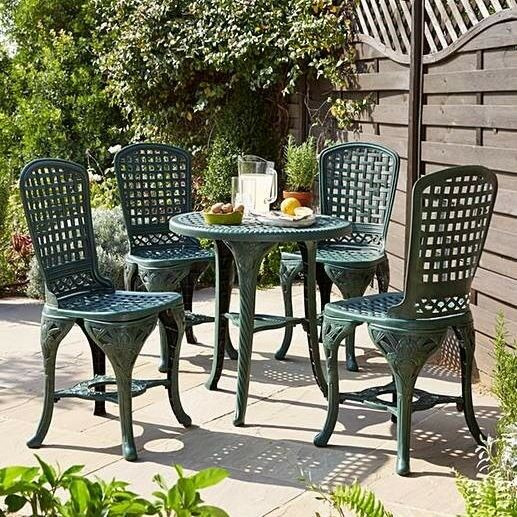 Brand New Retro Lightweight Garden Furniture Patio 5-Piece Pimlico Bistro  Set - Green - Brand New Retro Lightweight Garden Furniture Patio 5-Piece Pimlico
