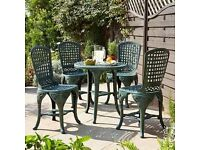 Brand New Retro Lightweight Garden Furniture Patio 5-Piece Pimlico Bistro Set - Green