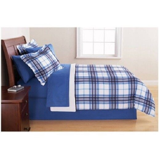 Mainstays Blue Plaid Queen Bed in a Bag Complete Comforter B