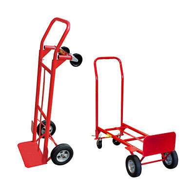2-in-1 Convertible Hand Truck W Wheels 600 Lb. Capacity Home Improvement Red