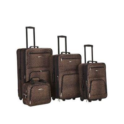 Rockland Leopard (Rockland Luggage Safari 4 Piece Expandable EZ Roll Luggage Set, Leopard Print)