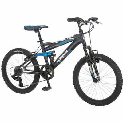"Mountain Bike 20"" Mongoose Mens Ledge Boys Black Aluminum Suspension Frame NEW"