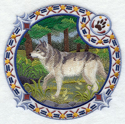 Embroidered Long-Sleeved T-Shirt - Grey Wolf Shield H4348 Sizes S - XXL