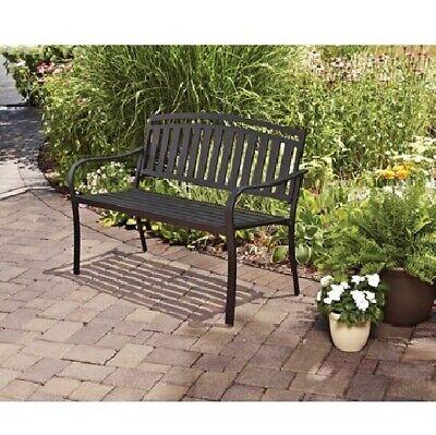 2-Person Outdoor Garden Metal Bench Arm Rests Yard Patio Garden Seating Black Arms Outdoor Benches