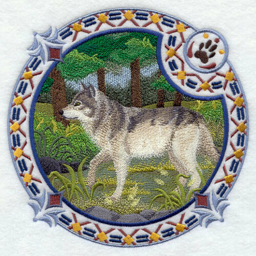 Embroidered Sweatshirt - Grey Wolf Shield H4347