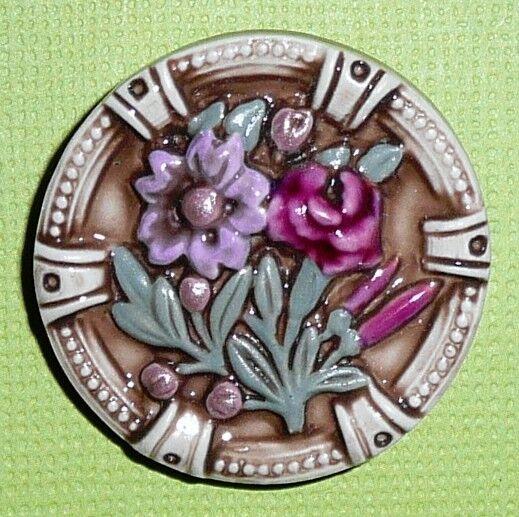 """Gorgeous Purple Flowers Floral Art Stone Ceramic Shank Button - 1-3/16"""""""