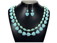 Turquoise necklace and matching sterling silver earrings, vintage and handmade