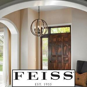 NEW FEISS 5 LIGHT PENDANT FIXTURE F2936/5WOW/AF 149781167 LIGHTING ALLIER WEATHER OAK WOOD/ANTIQUE FORGED IRON FINISH