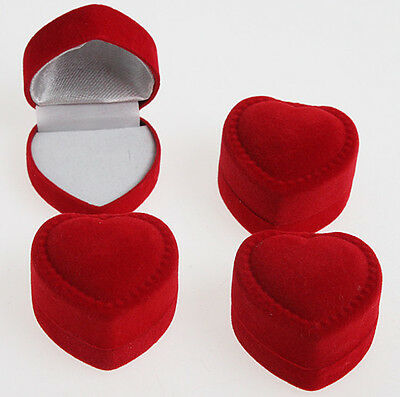 Wholesale Lots 24pcs Romantic Velet Red Heart Ring Gift Boxes Jewelry Supplies