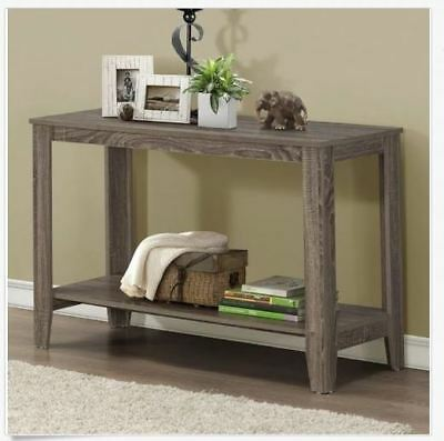 Entryway Table Reclaim Look Wooden Sofa Console Hallway Taupe Gray Shelf Foyer