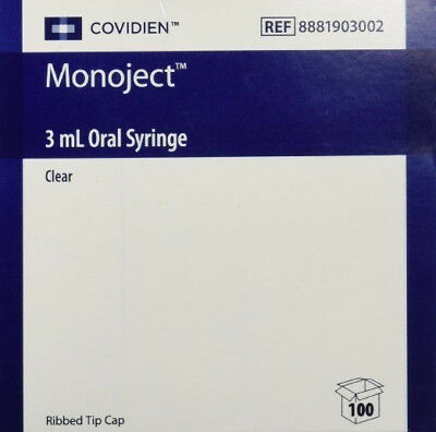 Oral Dispenser Syringe Monoject 3ml Bulk Pack Oral Tip Without Safety Box Of 100