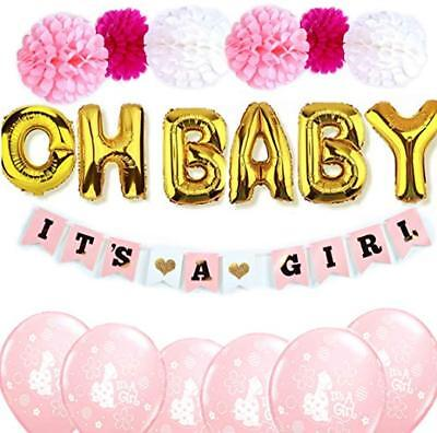 Baby Shower Decorations for Girls Pink and Gold Oh Baby Balloons Banner PomPoms - Pink And Gold Baby Shower Decorations