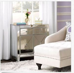 Mirrored Storage Cabinet Drawers Dresser Chest End Side Table Bedroom  Nightstand