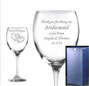 WINE GLASS PERSONALISED & ENGRAVED IN Blue Gift Box Any message free!