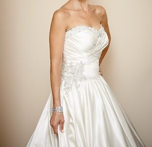 Ivory Satin Ballgown Wedding Dress in Impeccable Condition