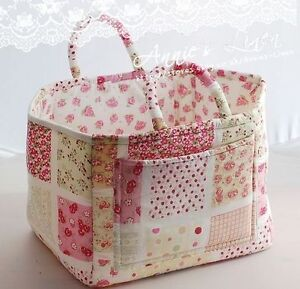 Annie-handmade-Country-Print-Patchwork-Cherry-Storage-Laundry-Basket-Bag-B08