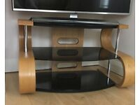 Contemporary TV stand light oak & black glass for sale