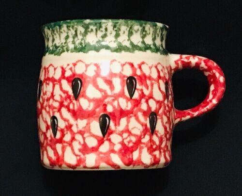 Roseville Workshops Watermelon Red Green Spongeware Mug Gerald E. Henn