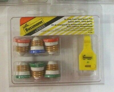 Buss Tl-ek Plug Fuse Emergency Kit Assorted Fuses Tester Edison Base Time-delay