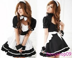 New Sexy French Maid Halloween Costumes Princess Cosplay Fancy Dress Uniform