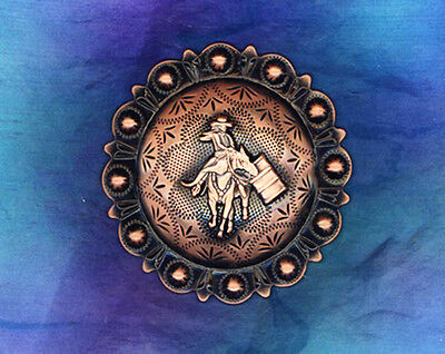 r Schwarz Kupferbeschichtet Fass Racer 6cm Concho (Western-dekor)