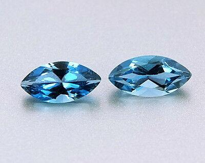 TOP TOPAZ  8 X 3.5 mm PAIR : 1,35 Ct Natürlicher London Blue Topas Pärchen