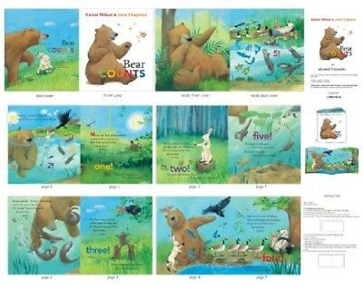 Used, Elizabeth's Studio ~ Bear Counts Nature Animals ~ 100% Cotton Fabric Book Panel for sale  USA