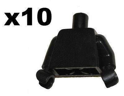 LEGO LOT OF 10 MINIFIGURE TORSO PLAIN BLACK WITH GLOVES MINIFIG BODY PART