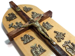 011#  WOODEN WOOD CROSS CRUCIFIX- 14 STATIONS OF THE CROSS WALL HANGING