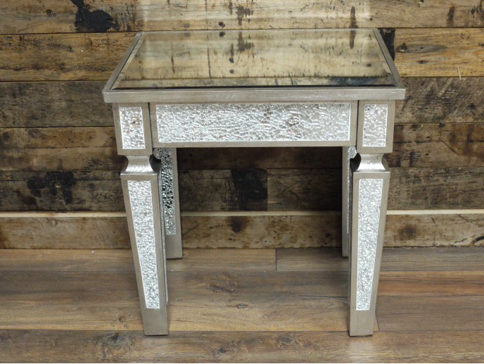 SILVER MIRRORED CRACKLED GLASS DRESSING TABLE STOOL / SIDE END LAMP TABLE DX4704