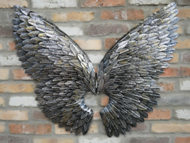 Large Pair of Silver & Gold Flecked Wall Angel Wings