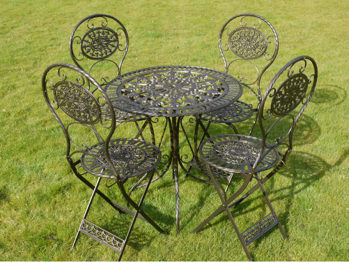 ANTIQUE SHABBY CHIC FRENCH BLACK METAL GARDEN TABLE CHAIRS PATIO BISTRO SET